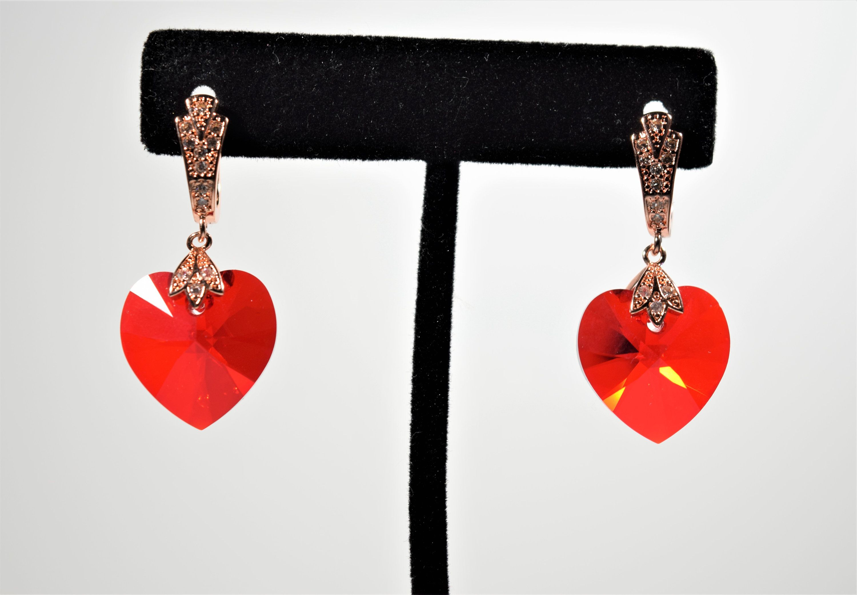 Heart Earrings Swarovski Crystal