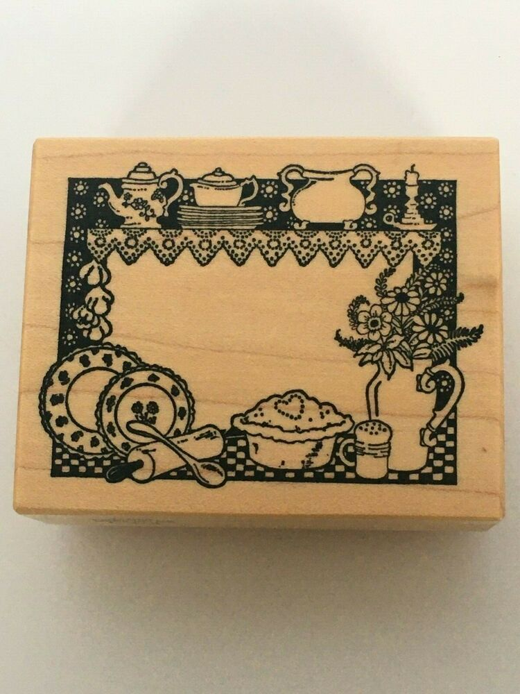 PSX Rubber Stamp Baking Small Frame Kitchen Pie Pot Teapot Rolling Pin Food F378