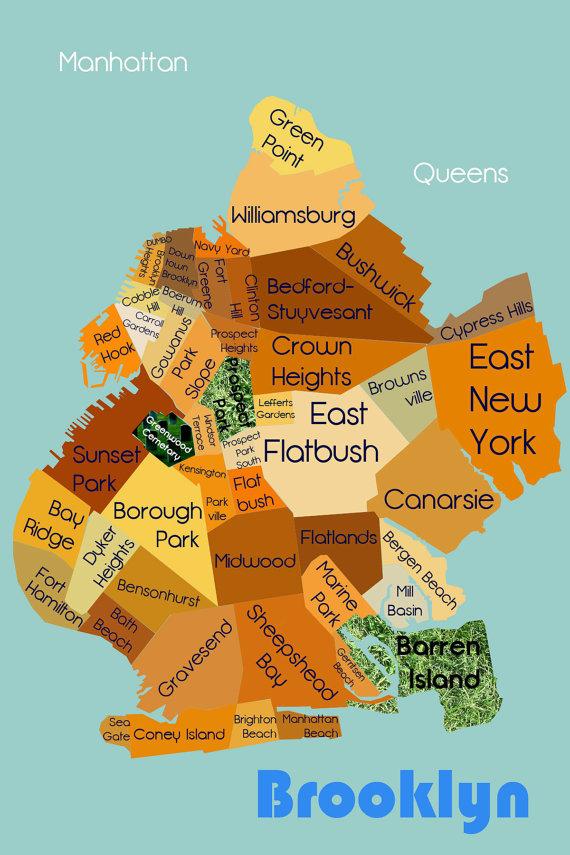Map Brooklyn Neighborhoods Brooklyn Neighborhoods Map Illustration Digital by ShanonDiamond