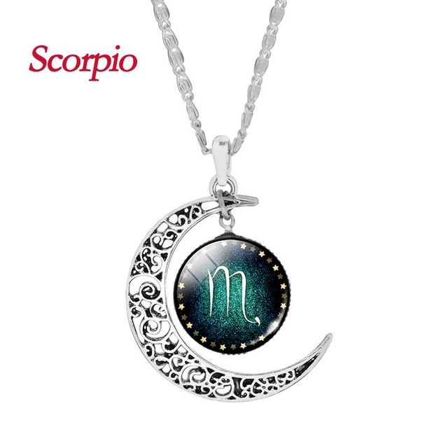 Vintage Jewelry Silver Color with Zodiac Glass Cabochon Choker Crescent Moon Pendant Long Necklace for Women Christmas Gift-in Pendant Necklaces