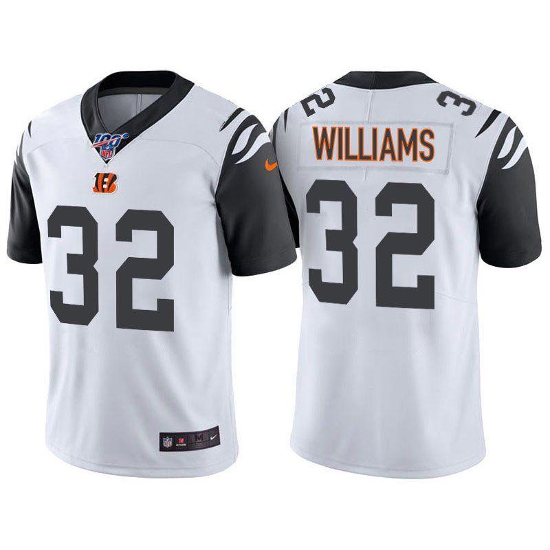 Men's Cincinnati Bengals #32 Trayveon Williams White Rush 100th ...