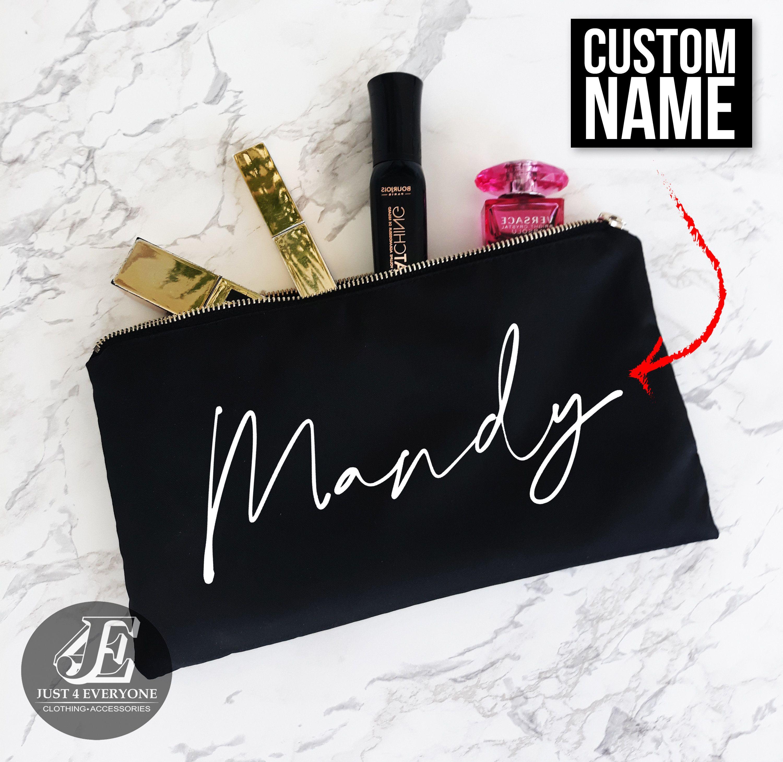 Personalized Makeup Bag Custom Name Cosmetic Bag Etsy Makeup Bag Personalized Makeup Bags Custom Bags