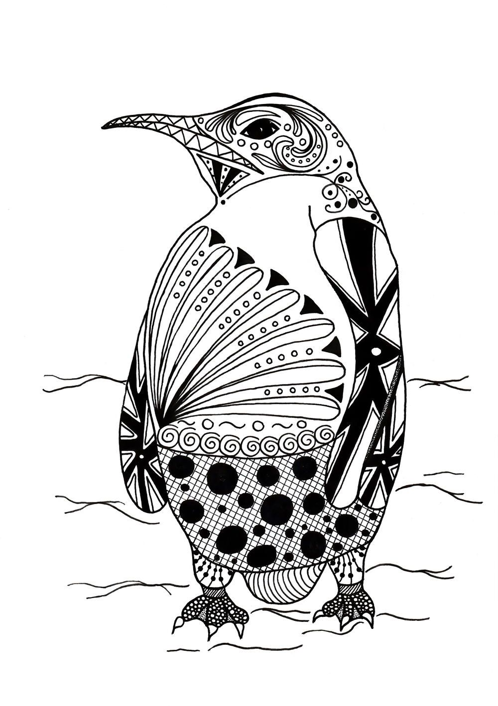 Intricate Penguin Adult Coloring Page Animal coloring
