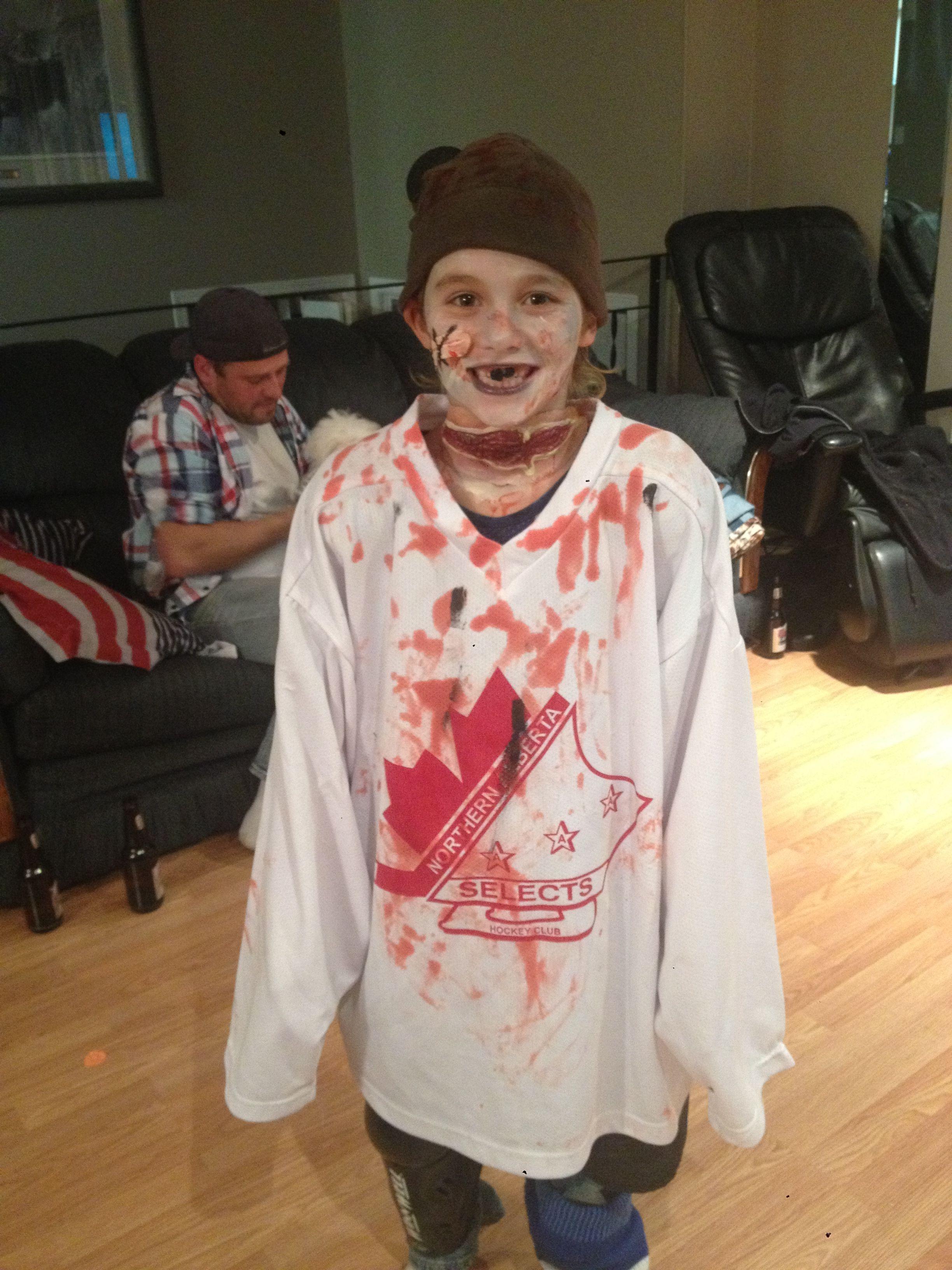My Son As A Zombie Hockey Player Halloween Costumes Halloween 2017 Halloween 2016