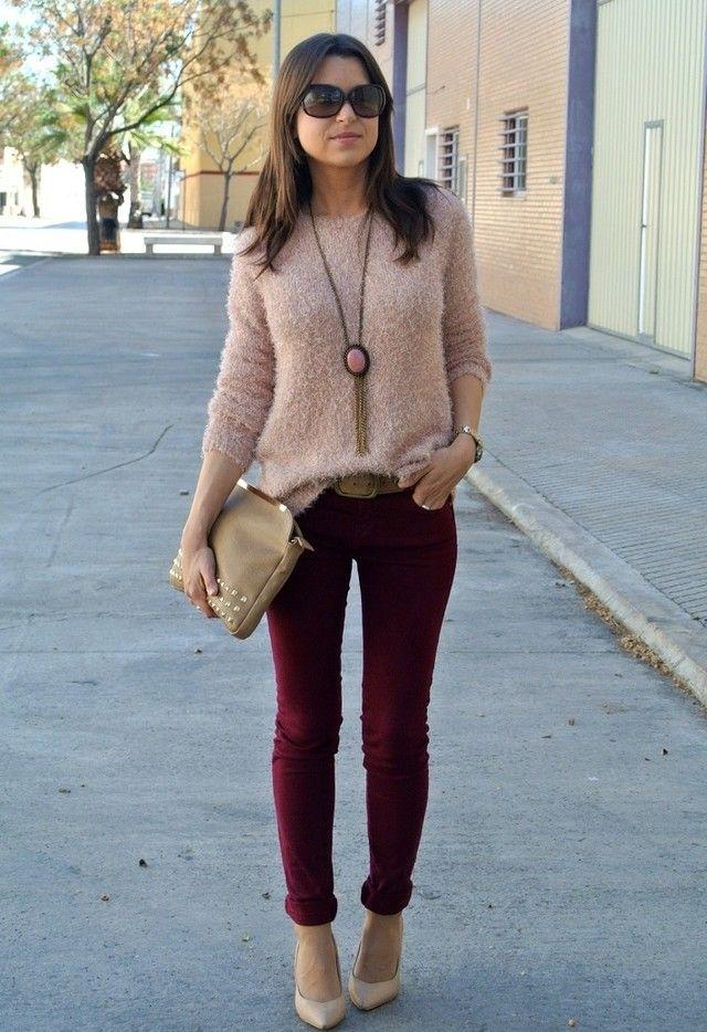 Burdeos+rosa | Chicisimo | outfits cuquis | Pinterest | Burdeos Rosas y Pantalones vino