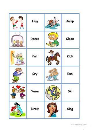 Action Dominoes ingilizce Pinterest Action verbs, Verbs list - active verbs list