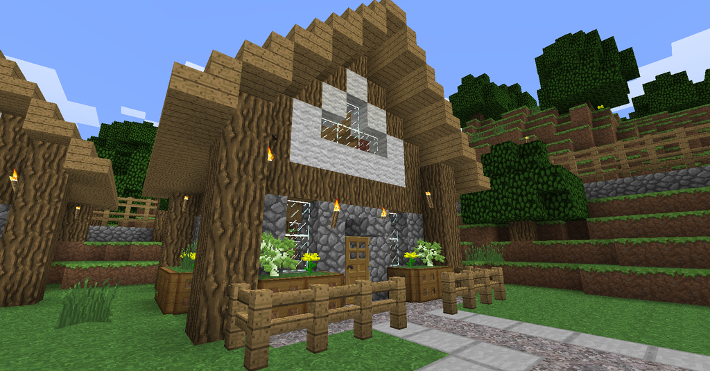 Simple-minecraft-village-housea-medieval-village