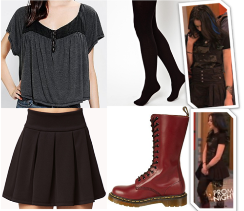 """Recreating the look! REQUESTED: Jade West's """"Prom Wrecker"""" first outfit. • Top • Skirt • Exact boots • Tights"""