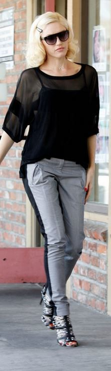 Who made  Gwen Stefani's black AND gray sandals,   idem pants (alonga as pernas,mm cor calça e calçado )sunglasses ,