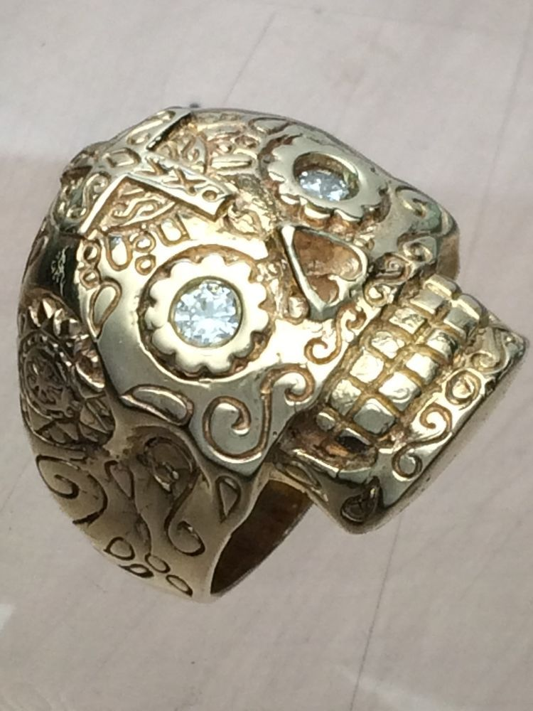 Men s 14K Gold Sugar Skull Ring with Diamond Eyes