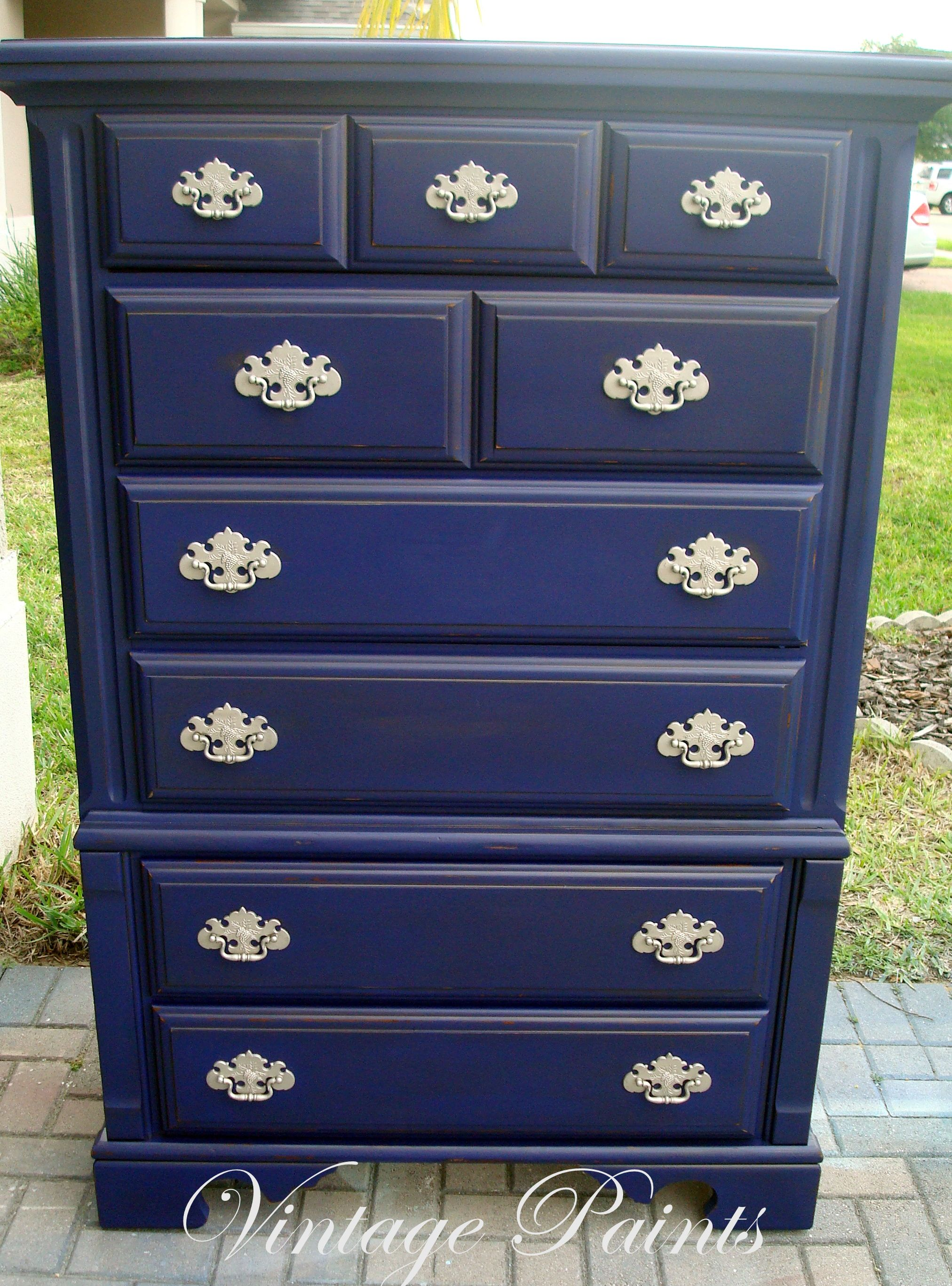 Midnight Navy Blue Chest Of Drawers Distressed Painted From Vintage Paints