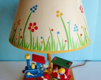 Vintage Children S Musical Nursery Lamp Bedside Lamp Table Lamp Choo Choo Train Childrens Lamps Lamp Nursery Lamp