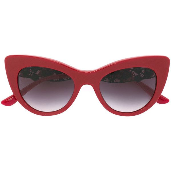 5a4709c42b43 Dolce & Gabbana lace bouquet sunglasses ($475) ❤ liked on Polyvore  featuring accessories, eyewear, sunglasses, red, red cat eye glasses,  gradient lens ...