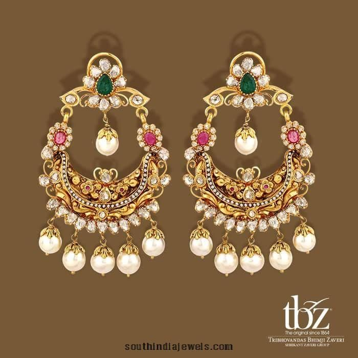 22k gold stone chanbali earings from TBZ | Earrings Collections ...