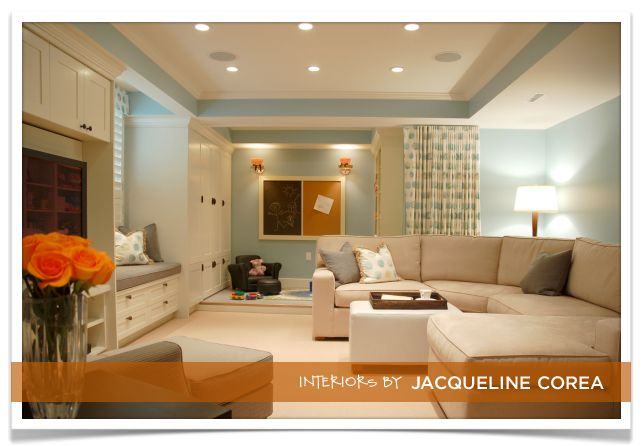 jacqueline corea corea sotropa interior design basement sectional - Basement Interior Design