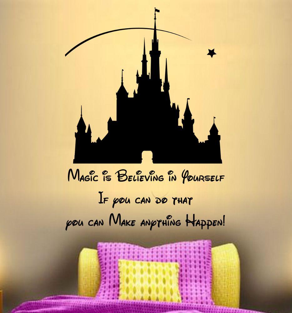 Quote dream disney castle magic wall art sticker decor girls bedroom ...