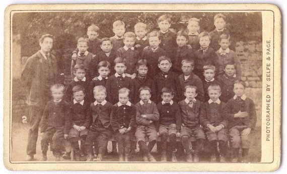1870s Superb Signed British CDV / Cute Infant School by UCRONIA