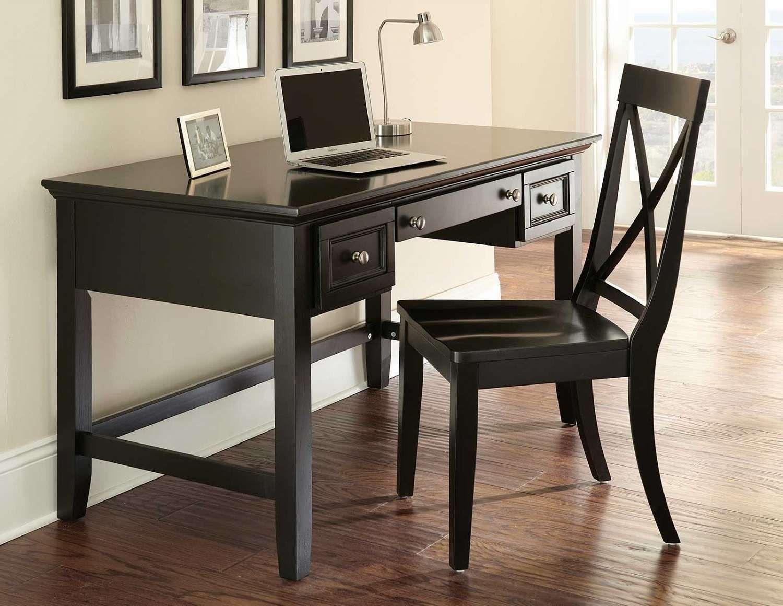 Home Office Desk Desk And Chair Set Black Writing Desk Modern Secretary Desk Office desk and chair set