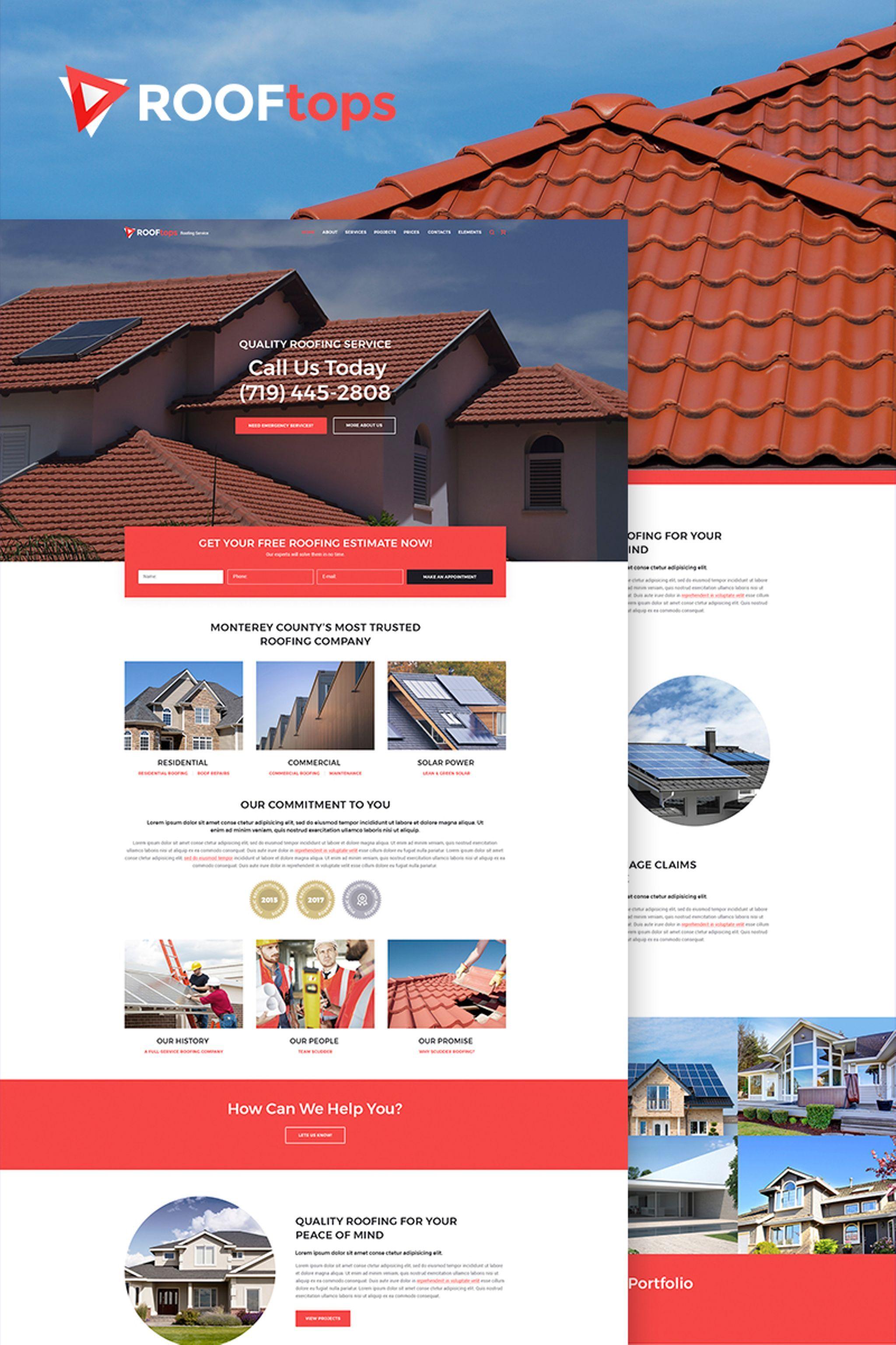rooftops roofing service wordpress theme design bundle