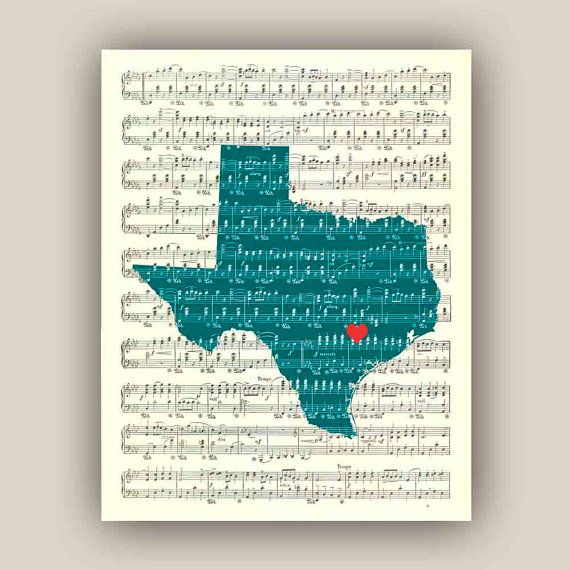 Texas state map art print on old sheet music 11x14 print texas state map art print on old sheet music 11x14 print customizable hearted city gumiabroncs Choice Image