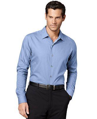 Van Heusen Shirt, Long-Sleeve Satin Striped Shirt - Casual Button-Down Shirts - Men - Macy's