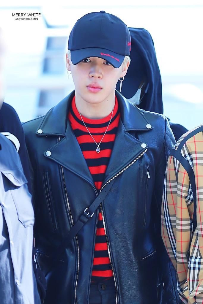 jimin #지민 #black #red #strips #hatstyle #leatherjacket