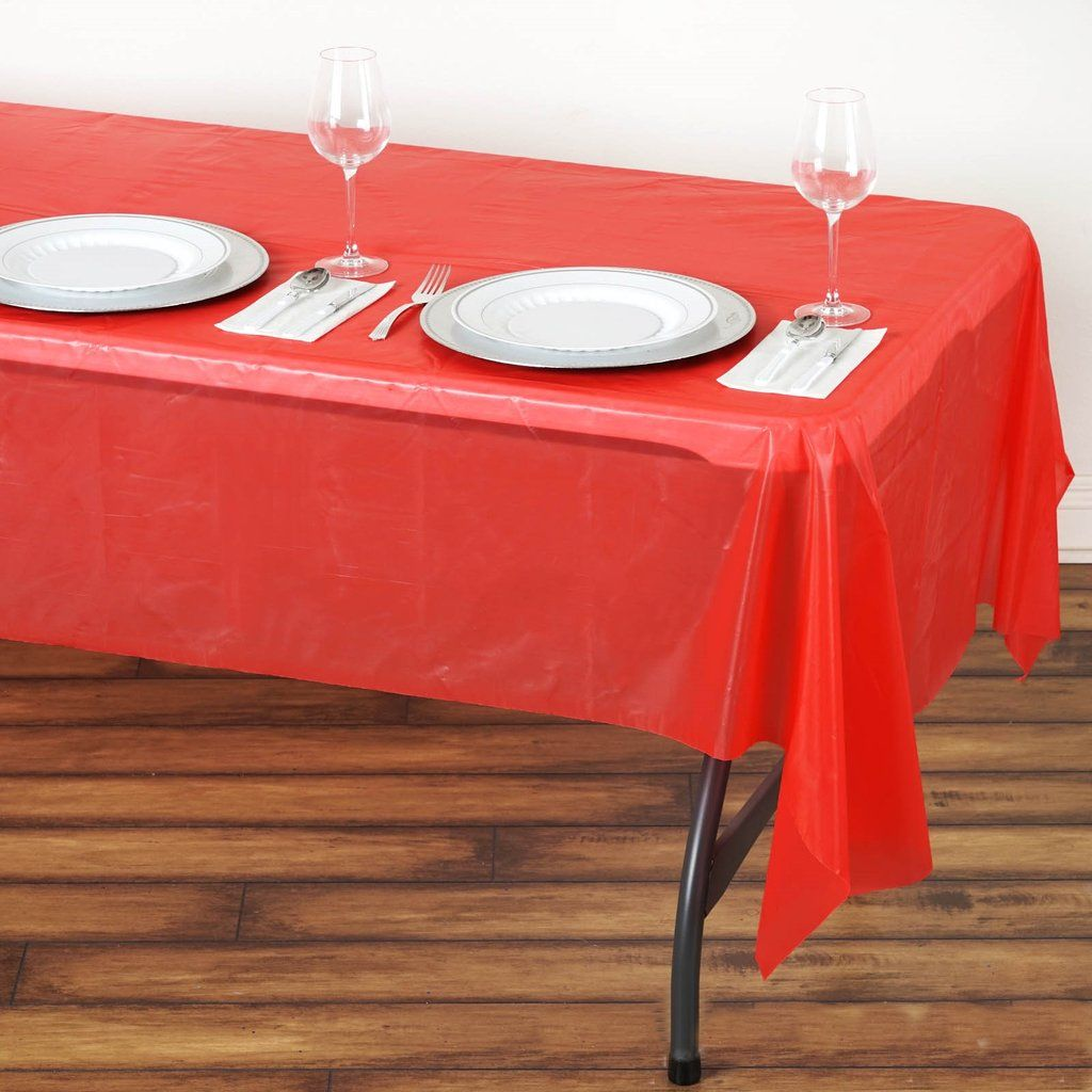 54 X 108 Red 10 Mil Thick Waterproof Tablecloth Pvc Rectangle Disposable Tablecloth In 2020 Plastic Table Covers Plastic Tables Table Cloth