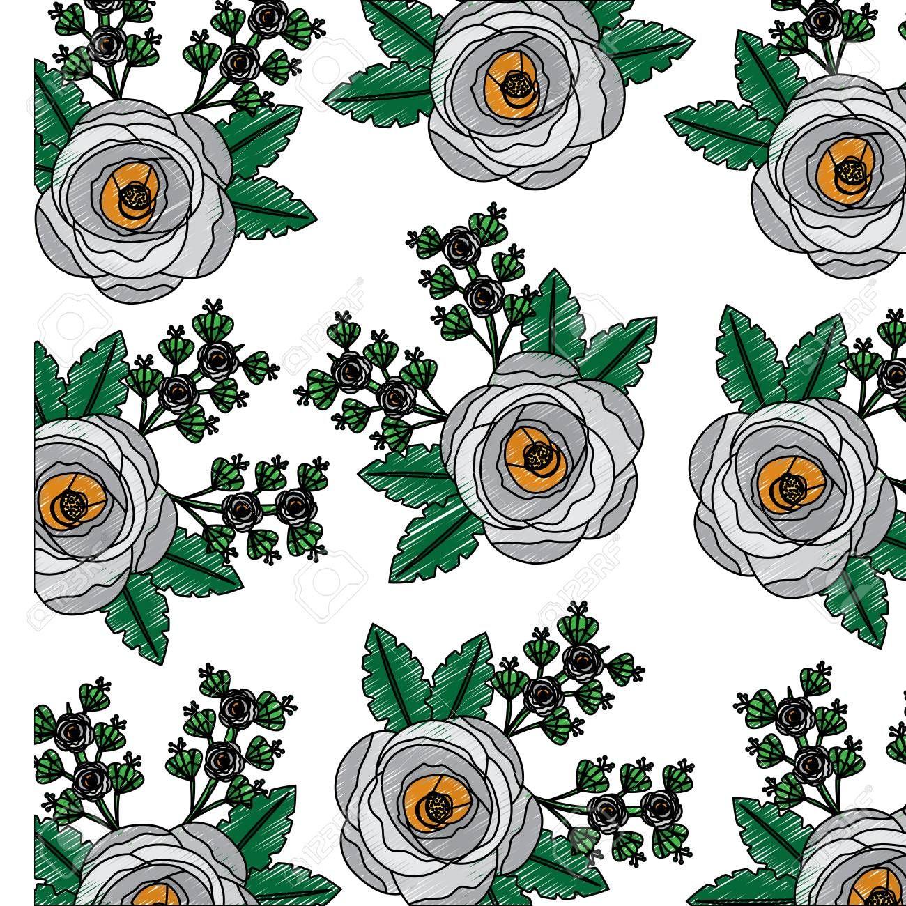 poppy flowers bud botanical decoration pattern vector illustration Illustration , #Sponsored, #bud, #botanical, #poppy, #flowers, #decoration