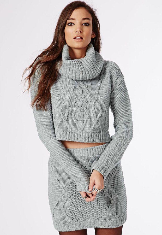 Aliya Roll Neck Cable Knit Crop Jumper Grey • £18 •  Missguided ... 5adf7ef44