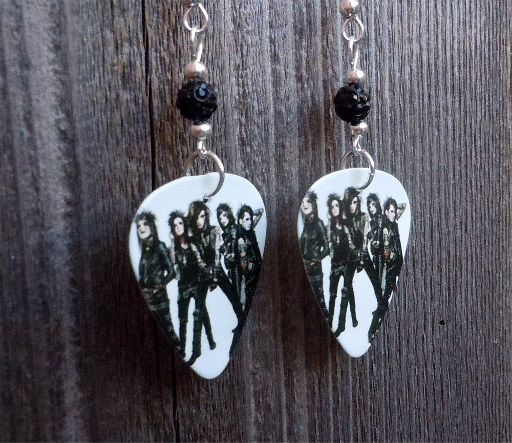 Black Veil Brides Group Picture Guitar Pick Earrings With Black Pave Bead  By Itsyourpicktoo On Etsy