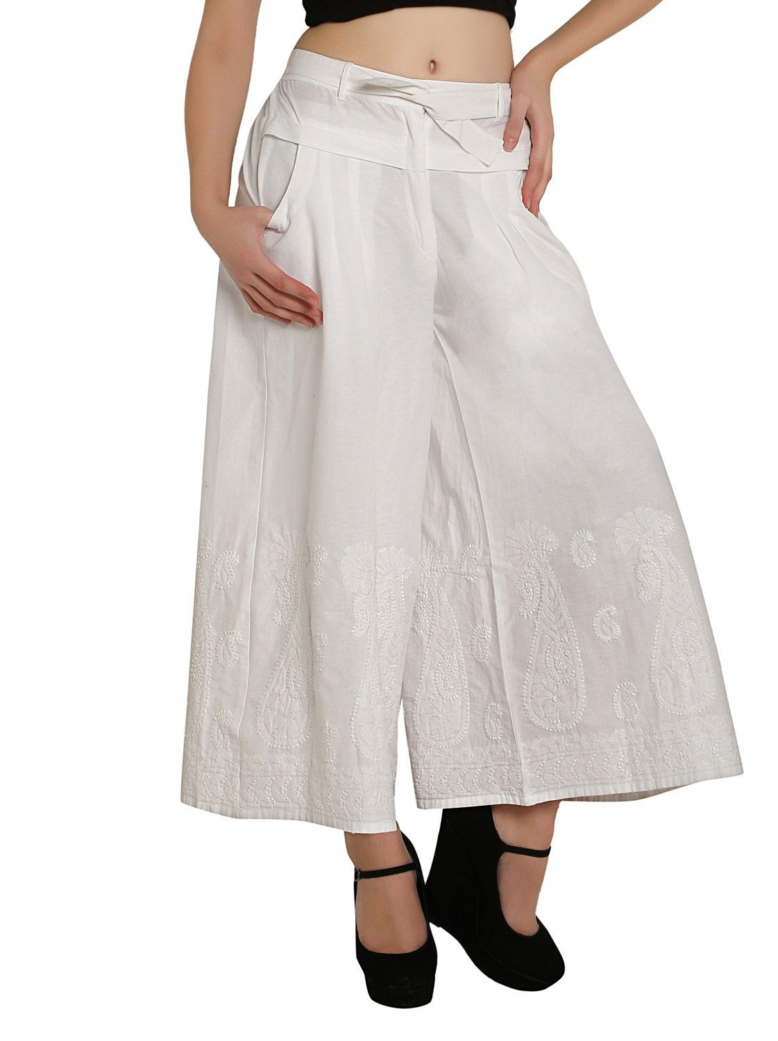 28632d21b2 Women harem pants trousers   salwar  palazzo chikankari hand embroidered  Boho hippie retro for   ladies   girls Indian Bollywood white by  Indiankala4u on ...