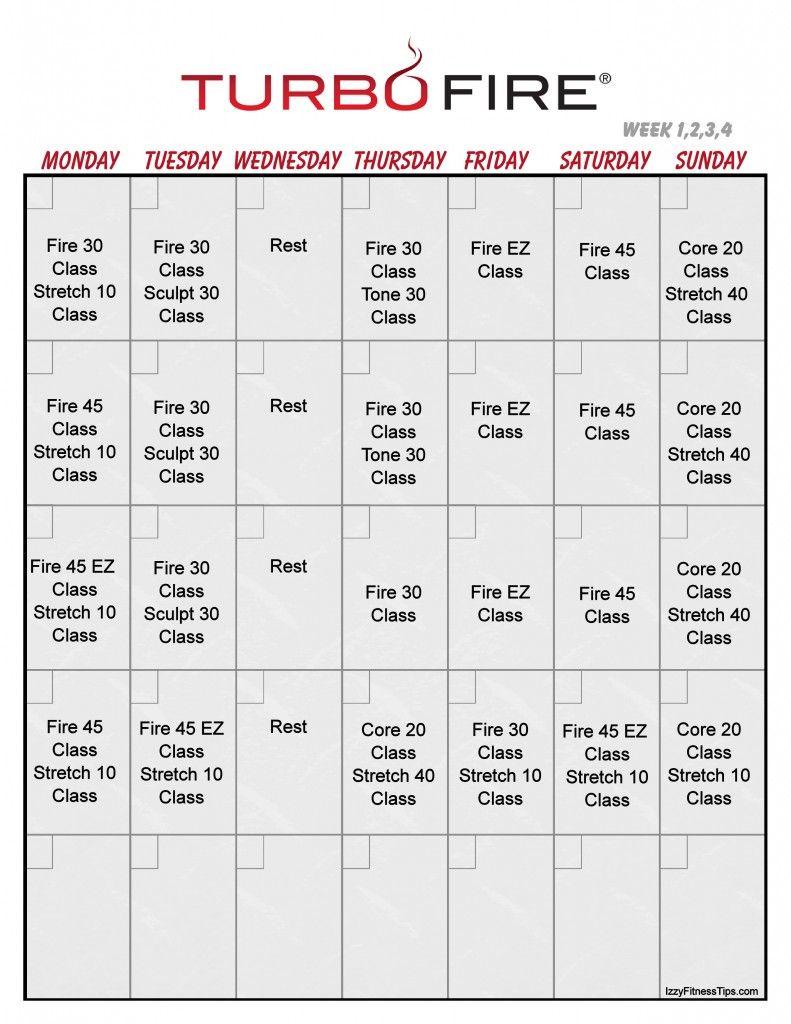 turbo fire calendar vertical 1 | work outs | pinterest | workout