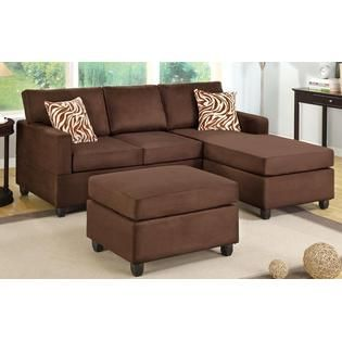 Hollywood Decor Chocolate Brown Sectional Couch With Free Matching Ottoman And Accent Pillows Small Sectional Sofa Sectional Sofa 3 Piece Sectional Sofa