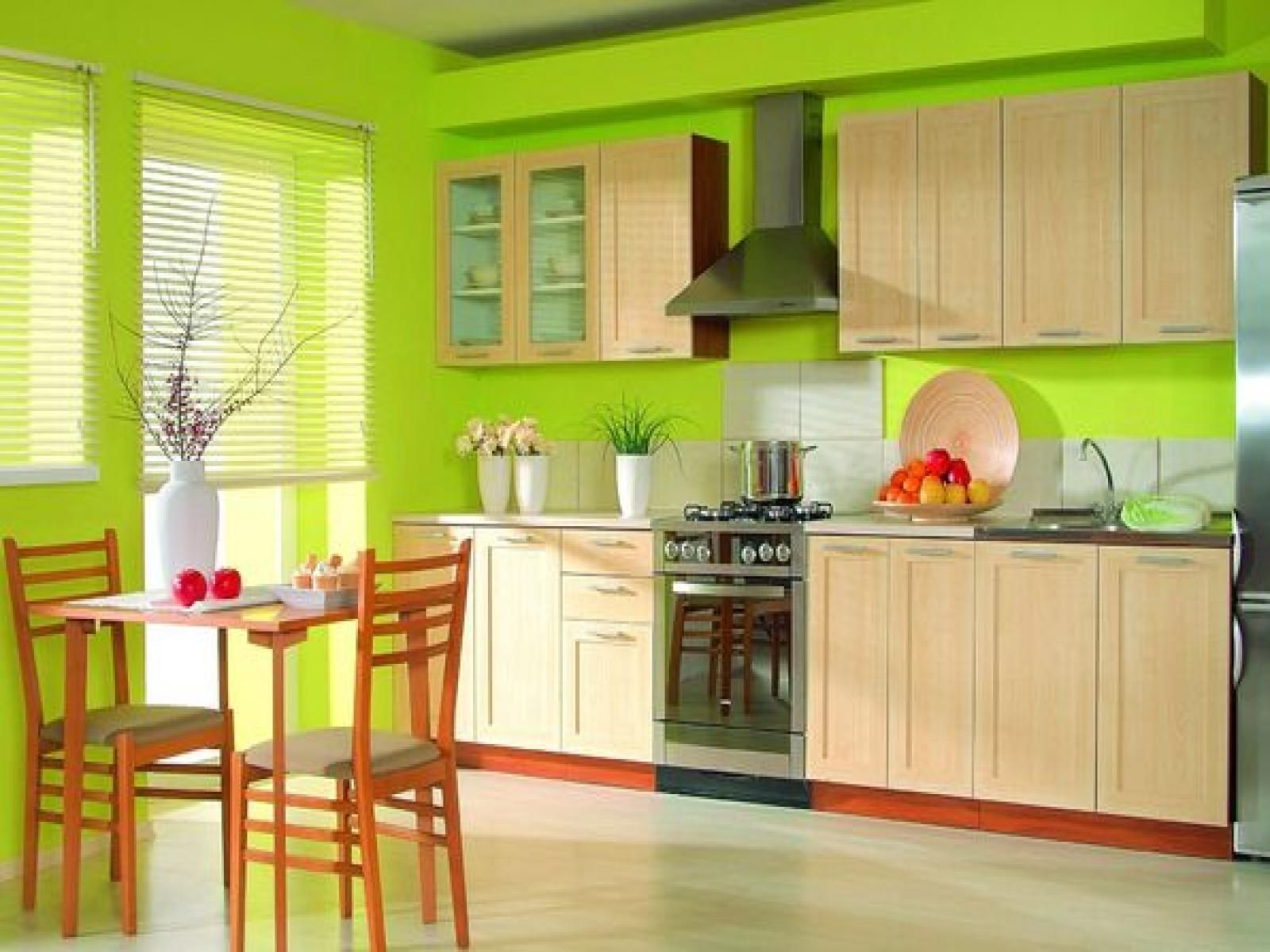 Green and Yellow Kitchen Decor With Tropical Style and Wooden Table ...