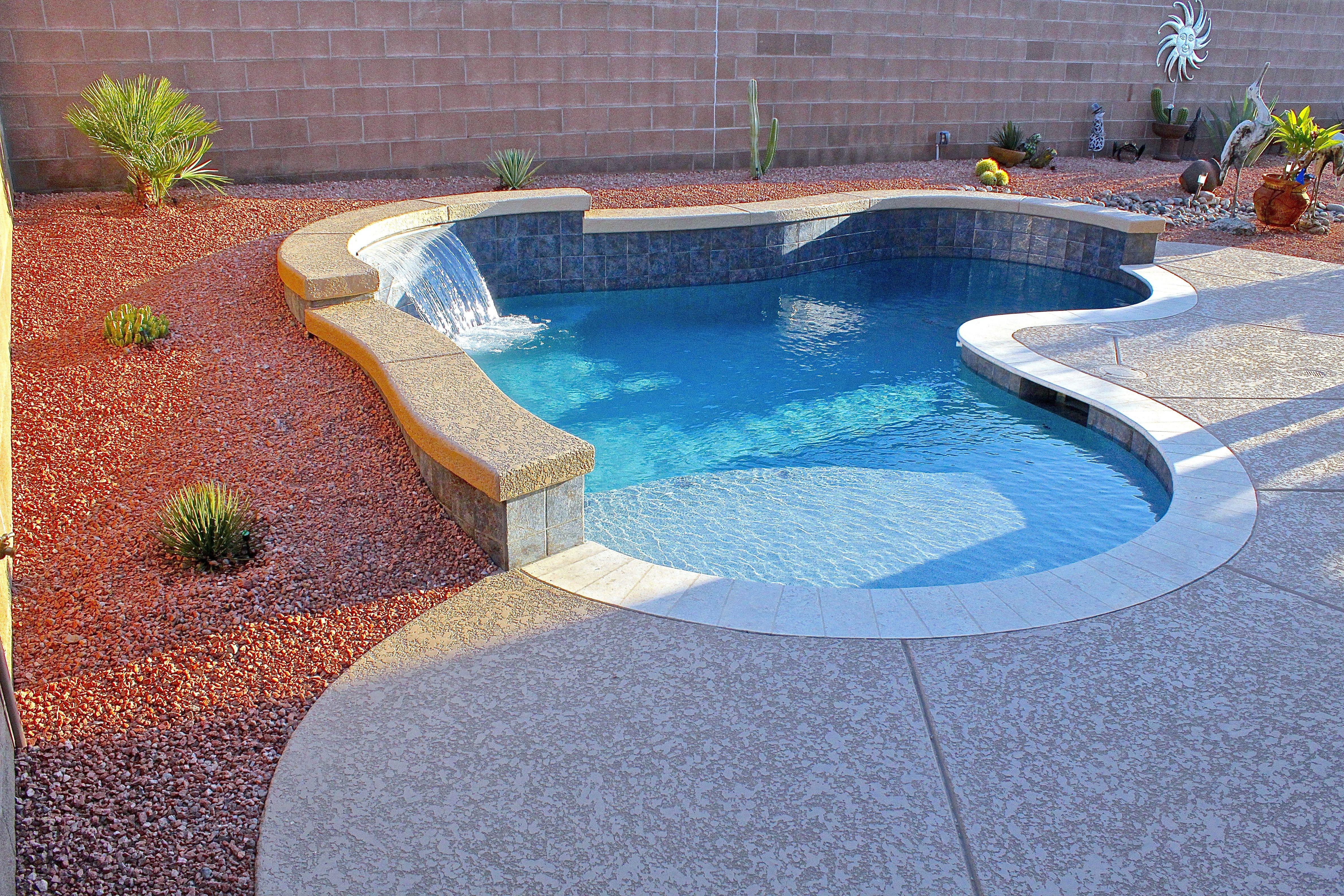 Pools Photo Gallery Custom Inground Pools Surprise Arizona Rainfall Freeform Pool With Sheer Descent Wate Backyard Pool Designs Custom Inground Pools Pool