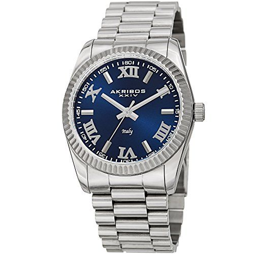 71266a0fa SALE PRICE - $44.99 - Akribos XXIV Men's AK1034 Series Italian Designed Blue  Dial Stainless Steel Bracelet Watch - Comes in a Beautiful Gift Box
