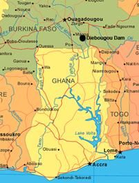Map of Ghana and Lake Volta region Travel Favorites Ghana West