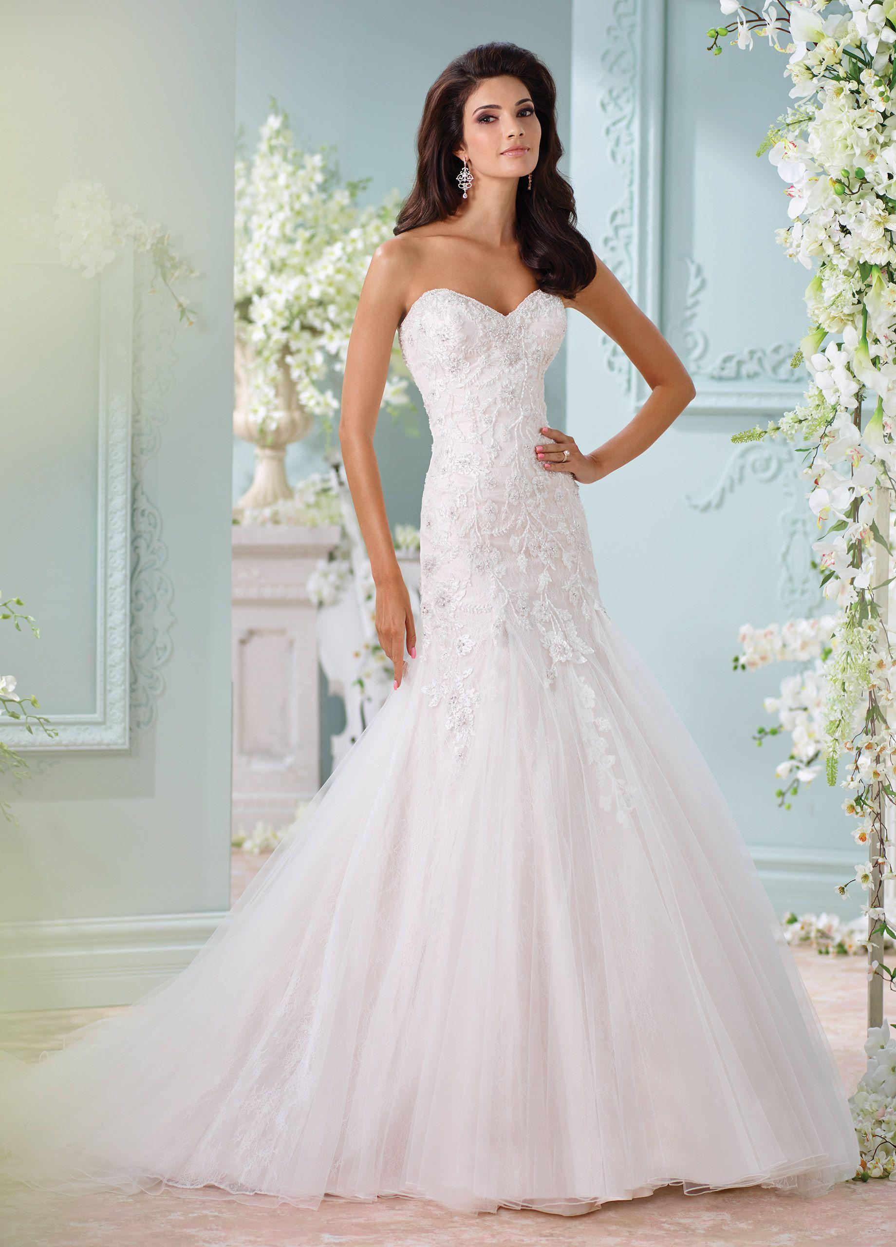 Dropped waist wedding dress  Chantilly Lace Embroidered Trumpet Wedding Dress  Lita