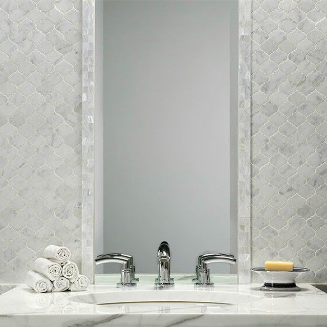 Bianco Carrara Arabesque Mosaic Tiling Is Offset Here By Mother Of