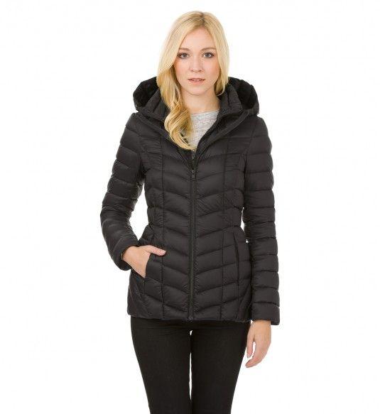Ariane black winter wool parka with fur hood