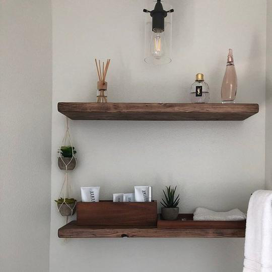 Chunky Floating Shelf Farmhouse Rustic Floating Shelves Wood Floating Shelves Industrial Floating Shelves
