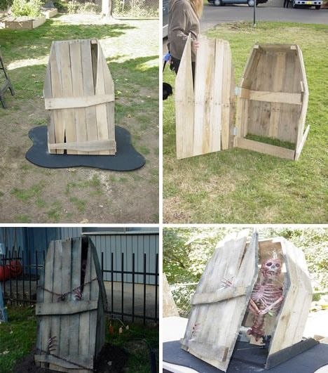 pallet coffin art of upcycling 20 diy wood pallet reuse project ideas - Diy Outdoor Halloween Props