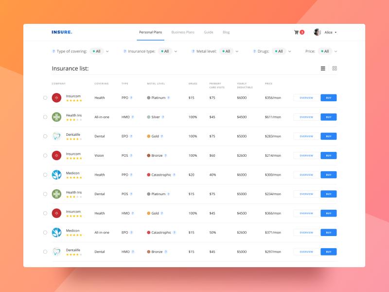 Insure Company List Web Design Dashboard Design Filter Design