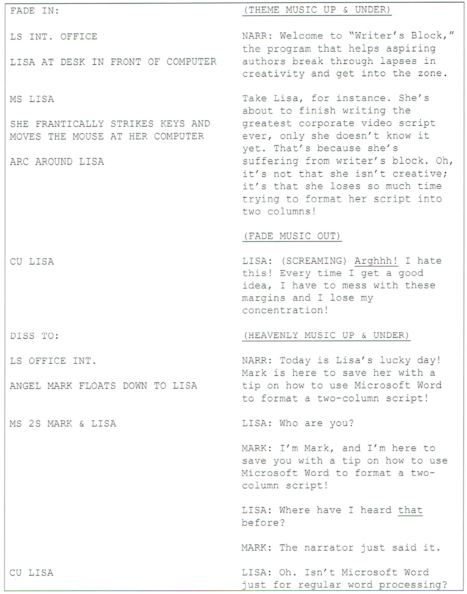Two Column Split Page Script Format Pre Production Production Script Column Curriculum Development