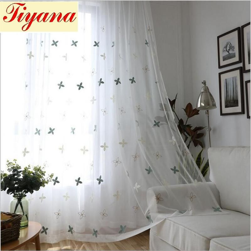 Modern Window Curtain Voile Curtains Tulle Embroidered White