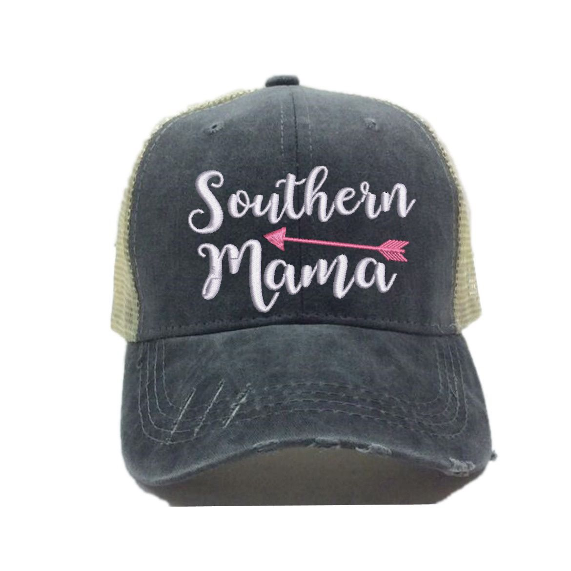 768bfccd0db Southern Mama Custom Trucker Hat For Women - Distressed - Vintage - Worn  Look - Brass Buckle - Adjustable - Embroidered Hat - Made To Order - Mom Hat