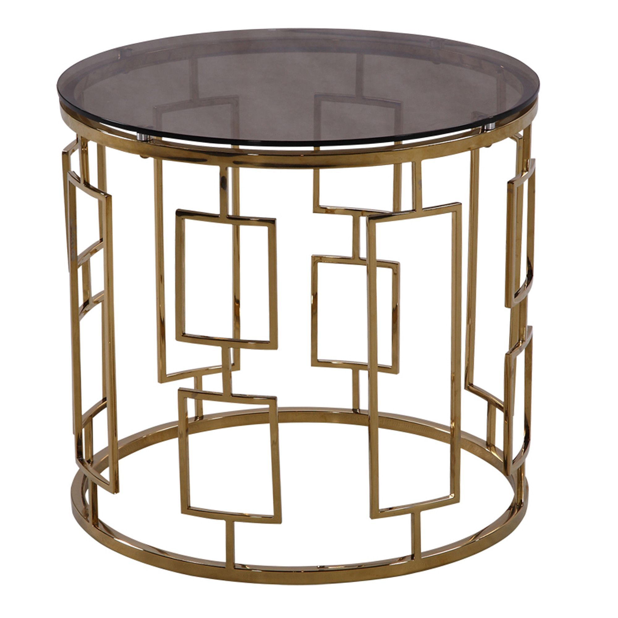 ARMEN LIVING Zinc Contemporary End Table In Shiny Gold With Smoked