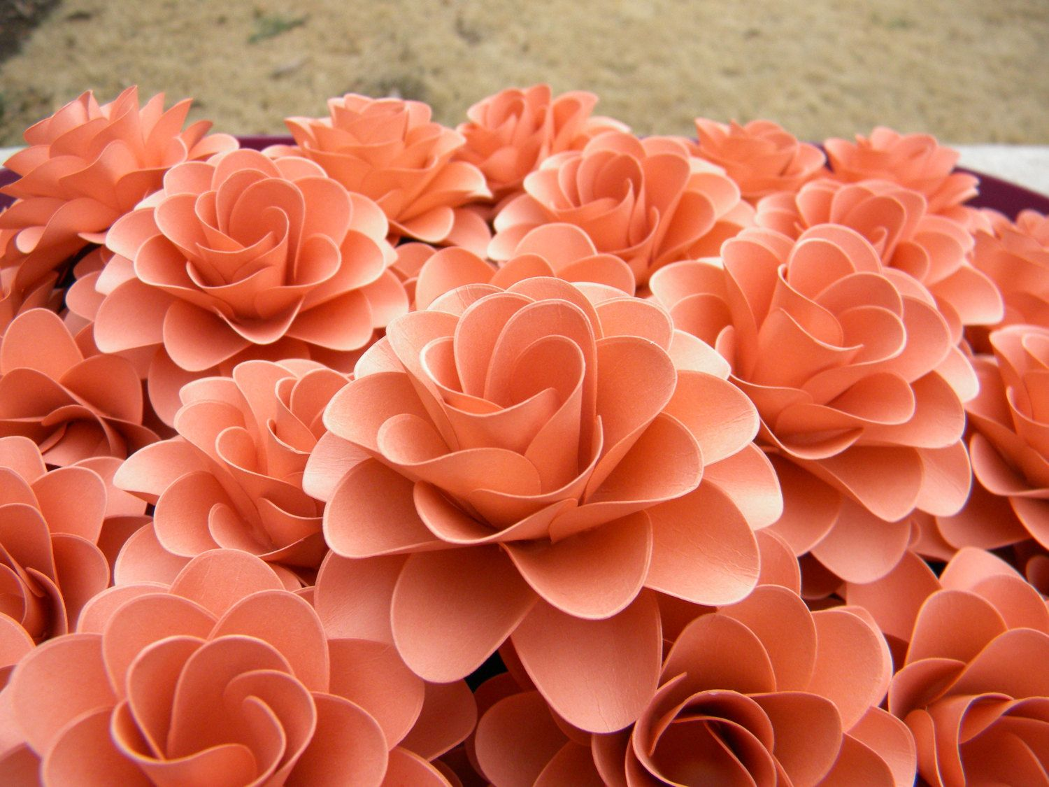Salmon-Colored Roses | Paper Flowers Light Coral or Salmon Color ...