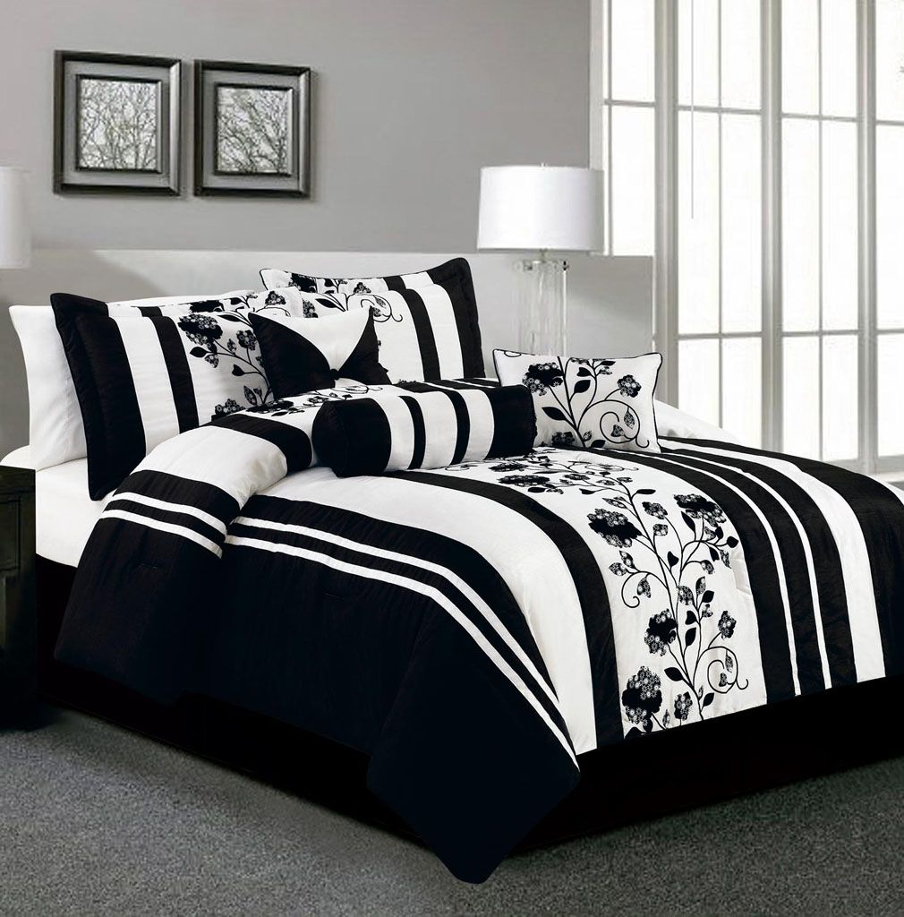 707703cc 11 Piece King Rianna Black and White Bed in a Bag Set | HOME: Master ...