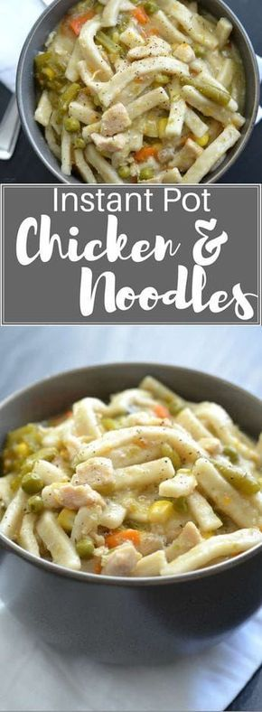 Instant Pot Chicken and Noodles—I really love this recipe because she goes step by step with exactly how to use your instantpot. This soup is easy and delicious. #instantpot #instantpotchickenrecipes